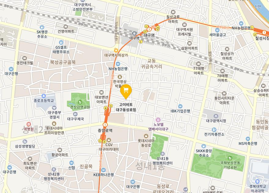 고이비토동성로점 지도