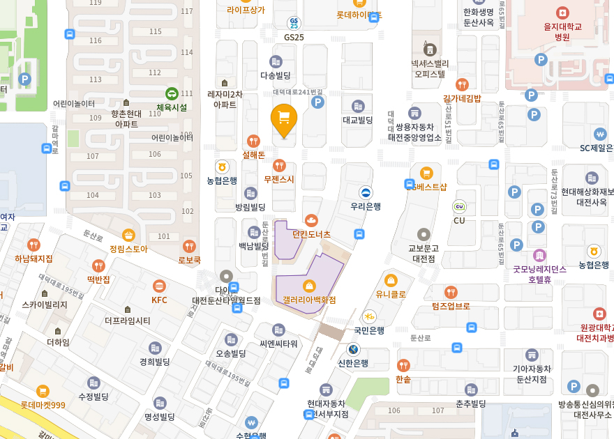 고이비토대전갤러리아 지도